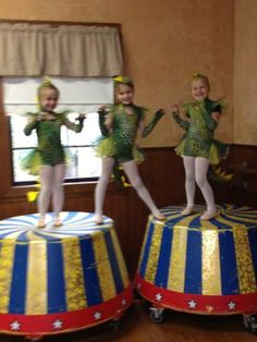 """Maddie and her friends are getting ready for their Dinosaur dance for revue at Covington Dance! Nice """"Circus"""" props!"""
