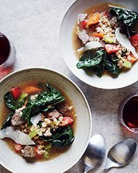 Beef and Farro Soup   Chef and TV personality Hugh Acheson uses miso to add umami to this hearty and exceptionally savory soup.   Slideshow: More Warming Soup Recipes