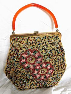 52a28a652f336 1950s Mid-century Vintage Beaded Purse by Souré Bag New York Designer  Floral Tapestry Handbag Lucite