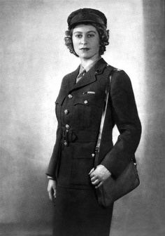 In 1945, Princess Elizabeth joined the Army's Auxilliary Territorial Service as a mechanic. She was one of 200,000 women who joined the service at that time. The women wore khaki belted jackets, skirts, tie up shoes and caps.