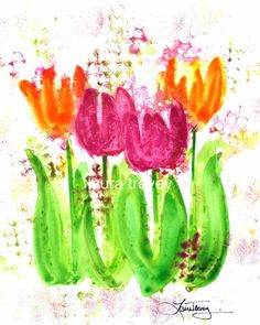 Bright Tulips Watercolor Print by lauratrevey on Etsy, $20.00