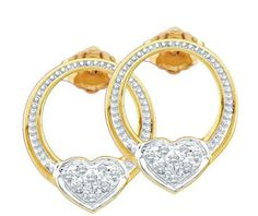 Sterling Silver 0.08CTW ROUND DIAMOND LADIES HEART FASHION EARRINGS