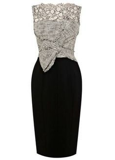 Karen Millen Graphic Lace and Tweed Shift Dress (black multi) - Lyst Style Feminin, Karen Millen, Mode Style, Dress Me Up, Pretty Dresses, Dress To Impress, Beautiful Outfits, Gowns, Stylish