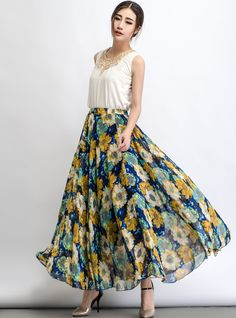Flower chiffon skirt maxi skirt C480 by YL1dress on Etsy