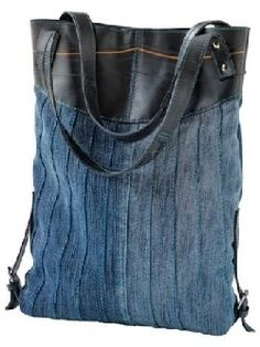 Denim+leather .......... This is a neat effect with the inky finely pintucked denim against the leather