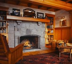 Make a lower ceiling into an advantage, a cozy fireplace nook