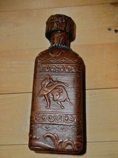 Spanish Leather Wrapped Decanter Bottle With Bull Fighter and Bull