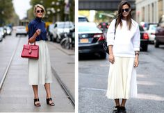There a big fave here in the office: the wide white skirt. Wear it with heels or sneakers and you'll be in style all summer. Vanessa Jackman, 2015 Trends, White Skirts, Midi Skirt, Street Style, Shirt Dress, Day, Heels, Sneakers
