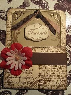 pocket card with tag, also used as a gift card. distressed stamping technique.