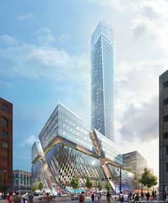 SHoP Unveils Plans for Detroit's Tallest Tower on Historic Downtown Site,© SHoP Architects PC Mall Facade, Shop Facade, Future Buildings, Modern Buildings, Modern Skyscrapers, Steel Buildings, Shop Architects, Site Photo, Cool Landscapes