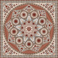 "Sedona Star pattern by Sarah Vedeler (alt. color)- Block of the Month pattern series, inishes at approximately 88"" x 88"" inches - pieced, applique, cotton"