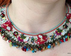 Christmas NecklaceOwl NecklaceNeedle Lace by NazoDesign on Etsy