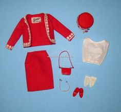 Vintage Mattel Barbie - The Japanese Exclusive Outfit # 2631. A gorgeous bold red linen Chanel inspired suit. With the white blouse. And red accessories.  (cost: $2,195.)