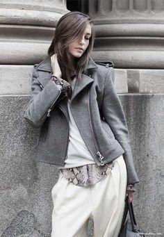 snakeskin print shirt, wool sweater, grey jacket, white pants//