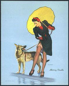 Vintage Elvgren 1940s WWII Pin Up Girl German Shepherd Dog Skirt ing Trouble | eBay