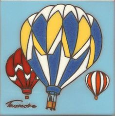 """Vintage Hot Air Balloon 6x6"""" Cleo Teissedre Memory Tile Cleo Teissedre,http://www.amazon.com/dp/B00IO8A4EM/ref=cm_sw_r_pi_dp_fsOdtb0FPVY8WH25"""