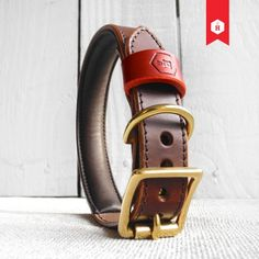 Monogram Two Tone Luxury Padded Leather Dog Collar Brown   HOUNDWORTHY