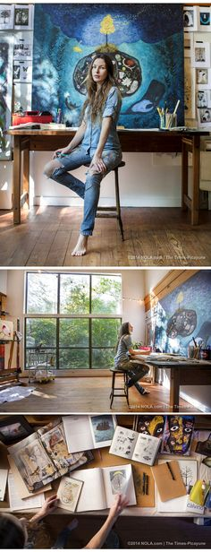 Step inside artist Rebecca Rebouche's rustic home studio in the Covington woods – Creative Home Office Design Home Art Studios, Art Studio At Home, Artist Studios, Art Studio Design, Art Studio Spaces, Music Studios, Studio Room, Inspiration Artistique, Painting Studio