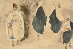 Four Sketches of Arab Men | The Art Institute of Chicago -- Delacroix