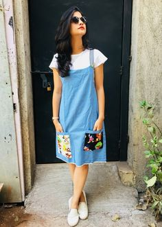 Light Blue Denim Dungaree in 2019 Kurta Designs, Blouse Designs, Stylish Dresses, Cute Dresses, Casual Dresses, Linen Dresses, Party Dresses, Formal Dresses, Frock Design