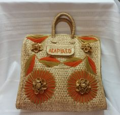 1960s ACAPULCO Natural Straw Beach Bag Orange & by AmazingFun
