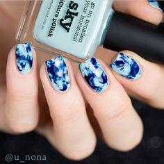 piCture pOlish 'Sky' acid wash nails by U-Nona WOWZA! www.picturepolish.com.au