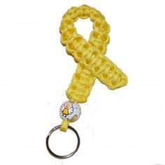 Hand-Painted Angel Pediatric Cancer Awareness Ribbon Paracord Keychain