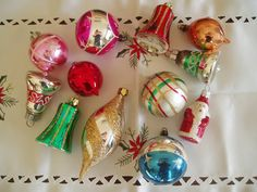 12 Vintage Christmas Tree Decorations  Christmas by Butterbeas