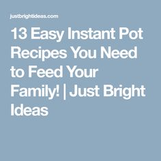 13 Easy Instant Pot Recipes You Need to Feed Your Family! | Just Bright Ideas