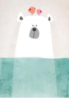 Bear Nursery art-Modern nursery-illustration for baby room-black and white nursery-Nursery art and decor-Bear art Nursery Prints, Nursery Wall Art, Bear Nursery, Canvas Art Prints, Canvas Wall Art, Art D'ours, Winter Thema, Art Mignon, Kids Canvas