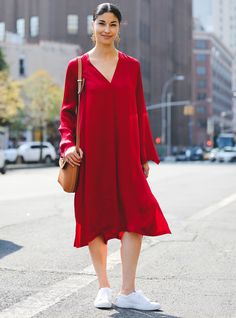 This Year, NYFW Street Style Is All About Minimalism #refinery29  http://www.refinery29.com/2016/09/120553/nyfw-spring-2017-best-street-style-outfits#slide-2  We love how this ankle-sock-and-sneaker combination balances out a super-feminine dress (and how the two color-coordinate perfectly)....