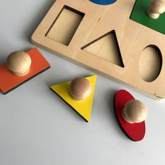 The Geometric Puzzle Board is specifically designed for toddlers. The 5 basic geometric shapes are represented in primary and tertiary colours Puzzle Board, Puzzle Pieces, Montessori Infant, Tertiary Color, Kids House, Geometric Shapes, 18 Months, Birth, Delicate