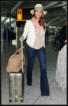 Jessica Alba wearing J Brand Kiki High-waist Flare leg denim