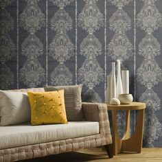Silk Road Damask by Arthouse - Charcoal - Wallpaper : Wallpaper Direct Charcoal Wallpaper, Damask Wallpaper, Wallpaper Paste, Wallpaper Roll, Wall Wallpaper, Designer Wallpaper, Pattern Wallpaper, Wallpaper Ideas, Ornament