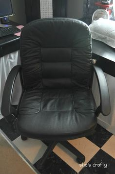 I am so excited to share my updated my office chair. I had the most boring, ugly office chair. Isn& she a beaut? Mixed Dining Chairs, Shabby Chic Table And Chairs, Recover Office Chairs, Office Chair Makeover, Leather Recliner Chair, Leather Chairs, Swivel Chair, World Market Dining Chairs, Restoration Hardware Dining Chairs