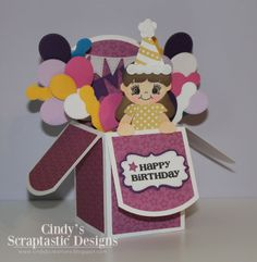 I made my first ever card box, KaDoodle Bug - Birthday Party Kids and it looks so cute with that sweet Moodies Face from PKS!!!! and all the great dies are from My Creative Time.   Hope you like my card box that I made for today!!!   Supplies I Used for my card box:  KaDoodle Bug Designs  Birthday Party Kids  Peachy Keen Stamps  PK-1200 The Moodies Face Assortment  PK-106 With a Cherry on   Emma's My Creative Time   Stitched Curly Label Die  Curly Label Die  Stitched Party Dies