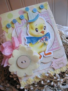 Easter spring cardSPRING CHICK happy spring by cherrysjubileecards