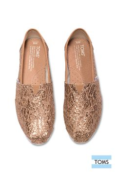 Sparkly lace Rose Gold TOMS slip-on shoes. Comfortable enough to wear on a long day of holiday shopping and festive enough to wear to a holiday party!