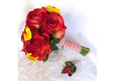 Red rose bridal bouquet real touch yellow calla lily and red rose wedding bouquet shabby chic bouquet set - TheWeddingMile.com