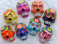 Can you see why polymer clay is a perfect medium for sugar skulls? I absolutely love these!