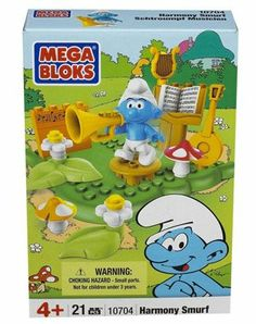 Mega Bloks Harmony Smurf (21 pcs) by Mega Brands. $8.56. Includes a Harmony Smurf figure and more. Inspired by the animated 1980s TV show, The Smurfs. Age 4+. 21 pieces. Build and rebuild the blocks in this playset. Mega Bloks Harmony SmurfDeep in the forest very far from here lies a magical village full of mushroom-shaped houses and our tiny blue friends that stand three apples high The Smurfs! Build and rebuild Harmony Smurf's music practicing area where he continues to t...