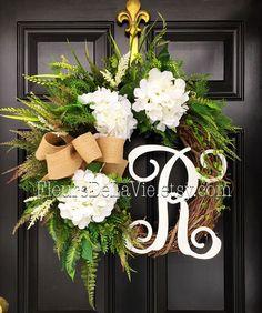 Door Wreaths, Wreaths, Monogram Wreaths, Hydrangea Wreath, Grapevine Wreath, House Warming Gift, Door Decor, Spring Wreaths