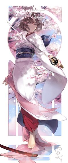 Sakura and brown hair eyes anime lady Pretty Anime Girl, Kawaii Anime Girl, Beautiful Anime Girl, Anime Art Girl, Anime Girls, Anime Kimono, Manga Anime, Geisha Anime, Manga Girl