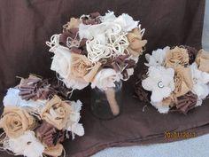 Burlap bouquet! Burlap Bouquet, Wedding Stuff, Stuffed Mushrooms, Stuff Mushrooms