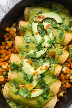 These vegan root vegetable enchiladas are filled with sweet potato and celeriac. A perfect fall recipe topped with an easy cashew avocado sauce.