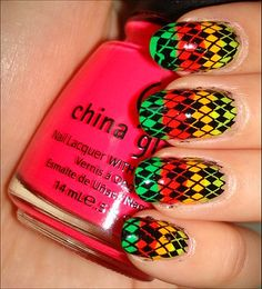 Neon Rainbow Argyle Konadicure Using Konad Image Plate m60
