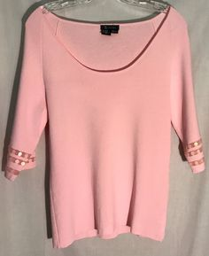 SISTERS Pink Scoop Neck Knit Top - Sequin-Mesh Trimmed Sleeves - Extra Large -XL #Sisters #KnitTop