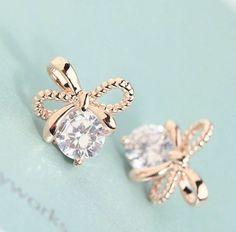 Beaded Bow and Rhinestone Earrings   LilyFair Jewelry, $15.99!