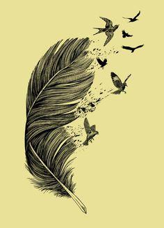 Feather Birds BW Art Print by Rachel Caldwell | Society6