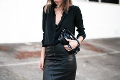 black on black: leather pencil skirt